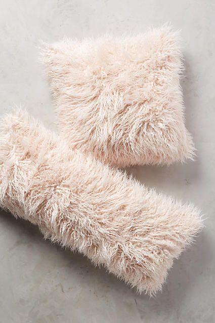 Pink Shag Puff Throw Pillow   Anthropologie <3