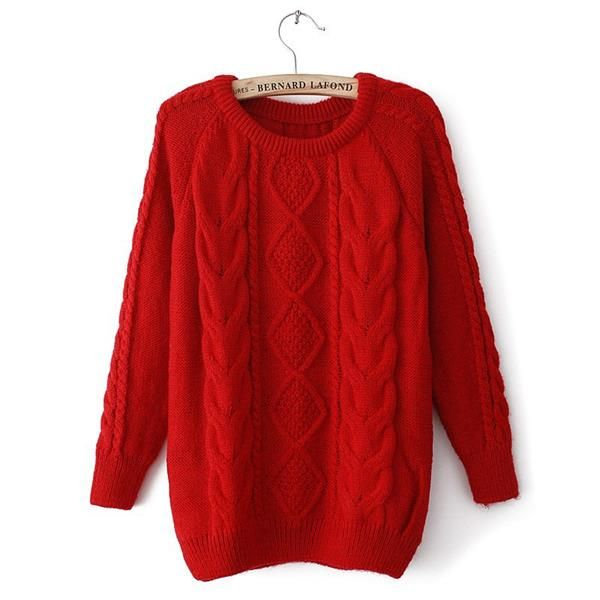 Красный вязаный свитер