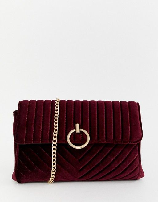7408e7ae04b New Look velvet chain shoulder bag in red