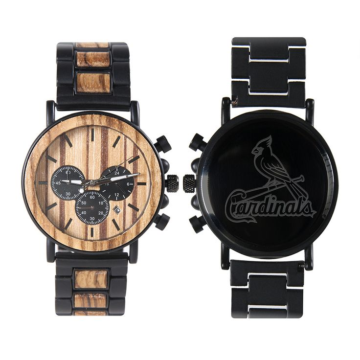 MLB St Louis Cardinals Metal and Wood Watches – Mens Titanium Chronograph Watch