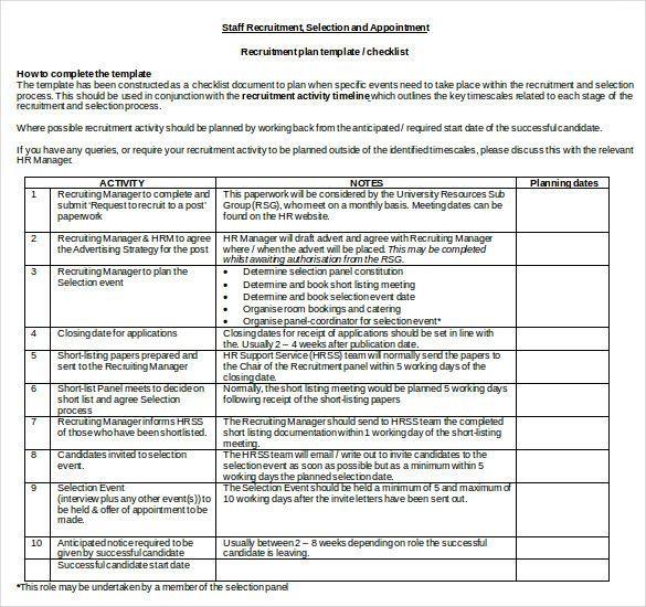 Recruitment Plan Template Action Plan Template