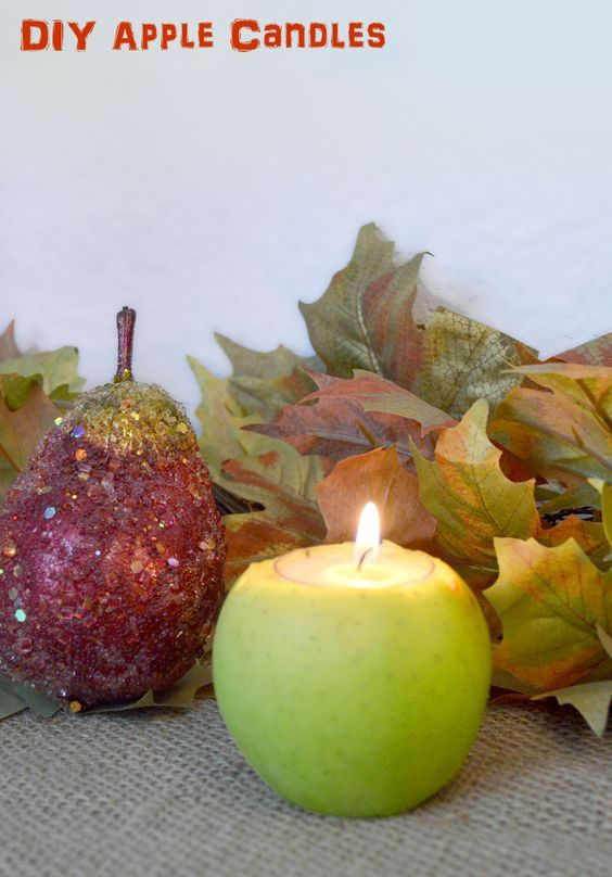 Easy DIY apple candles! Decorate your holiday table for Thanksgiving or a holiday party with these easy fall decorations - Mommy Scene