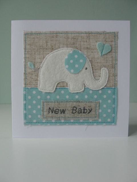 Baby Elephant with Heart, Handmade Baby Card £6.95