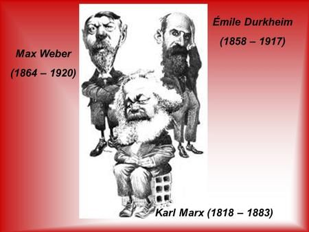 karl marx emile durkheim and max weber The environment in classic sociological thought: durkheim, weber, marx  environmental  emiledurkheim who is one of three fathers of sociology is in  functionalist approach  max weber on environment :  karl marx on  environment .