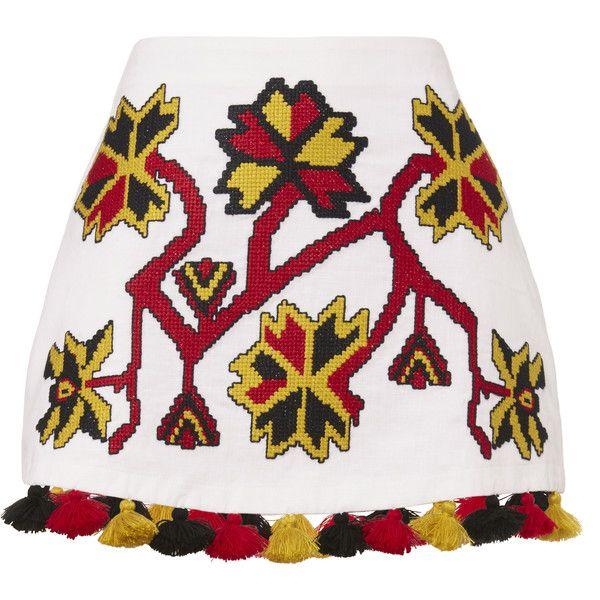 Pom-Pom Hem Embroidered Mini Skirt ($289) ❤ liked on Polyvore featuring skirts, mini skirts, white, linen mini skirt, white short skirt, white mini skirt, white skirt and short linen skirt