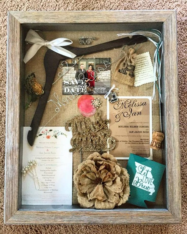 Wedding shadowbox! Includes save-the-date, cake topper, wedding champagne cork, program, invitation, groom boutineer, favors, hair pins, garder gem, wedding dress hanger, church ribbons, and remembrance charms.