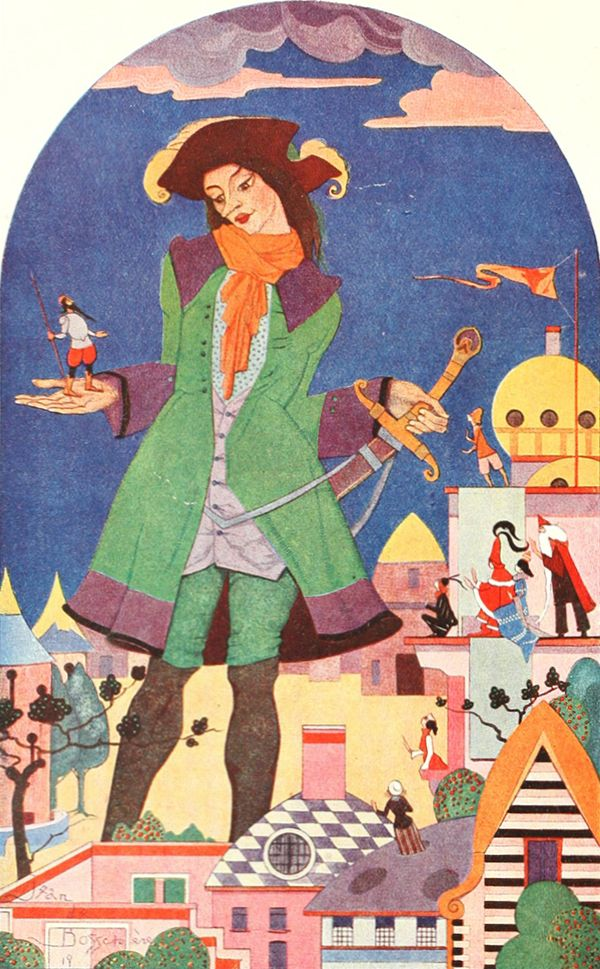 """Gulliver (frontispiece). From """"Gulliver's Travels"""" by Jonathan Swift. Illustration by Jean de Bosschère (1920)"""