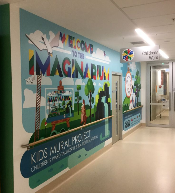 Tamworth Regional Referral Hosiptal. The Imaginarium - Kids mural project - entrance graphic