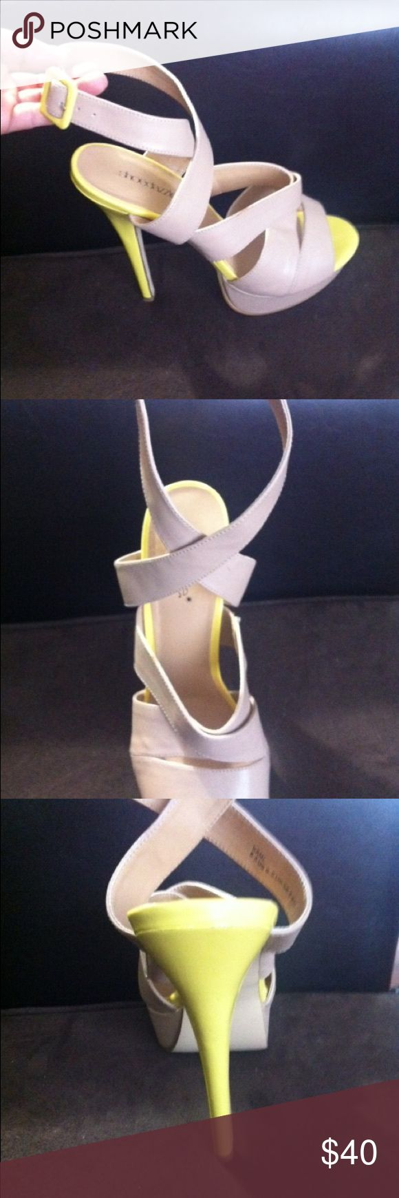 Beautiful ladies shoes size 8.5 Beautiful strappy, Tan/Yellow high heels, size 8.5. ShoeDazzle. Shoe Dazzle Shoes Heels