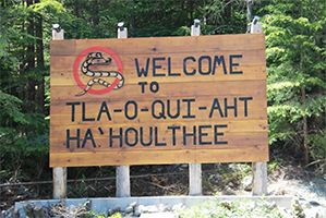 You're at the peak of Sutton Pass, at an elevation of 240 metres (787 feet). You're also entering the traditional territory of the Tla-o-qui-aht who has lived here for time immemorial.