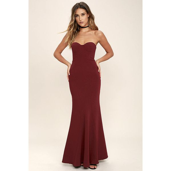For Infinity Burgundy Strapless Maxi Dress ($84) ❤ liked on Polyvore featuring dresses, red, burgundy maxi skirt, long maxi skirts, maxi skirt, red maxi skirt and long red maxi skirt