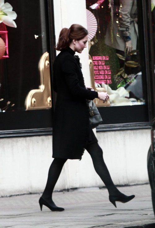 "London 10 November - Leaving Harvey Nichols • Black Coat with Fringe Detailing • Black Dress • Kurt Geiger ""Estee"" Courts in Black ($254) • Tod's ""D"" Bauletto Medio Leather Tote ($1653) • Kiki..."