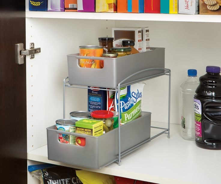 Save space and stay organized at home with Seville Classics 2-Tier Pull-Out Sliding Drawer Kitchen Counter Organizer.