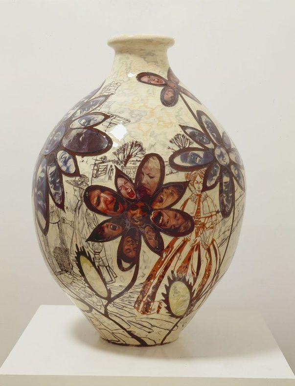 Potter Artist Grayson Perry (British: 1960) - Attracted to Suffering, 2005 - Glazed ceramic, 75 x 50 cm