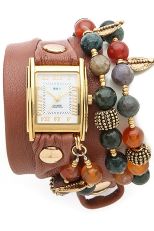LMMULTI2006 - La Mer Collection Thai Charm Wrap Cognac Gold dames horloge