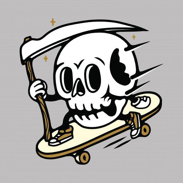Skull Mascot Cartoon Skateboarding Illustration In 2020 Cartoon Skull Art
