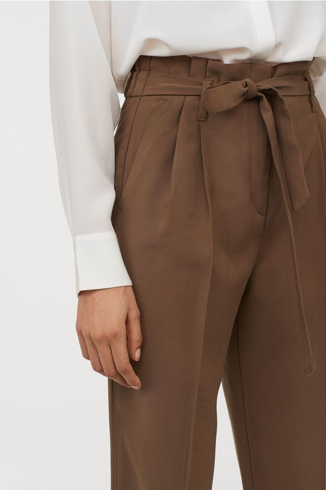 80s Dark Brown Plaid Soft Trousers Vintage Belted High Waisted Pants