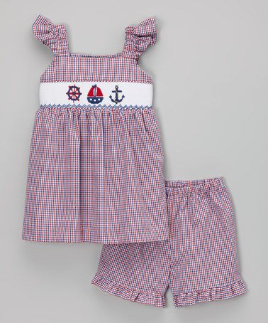 Red Nautical Smocked Top & shorts