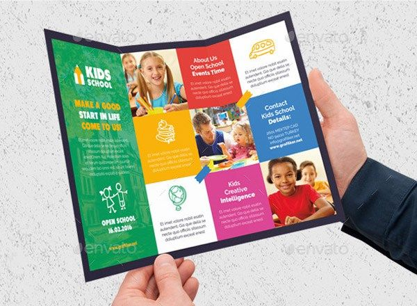 Sample Preschool Brochure Free Template For Child Care Flyer - Tri fold school brochure template