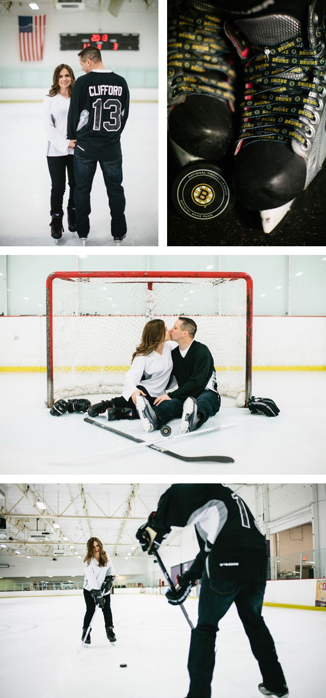 Hockey Engagement Photos Ice Rink Boston Bruins Las Vegas Ice Center Engagement Photos by Meg Ruth Photo
