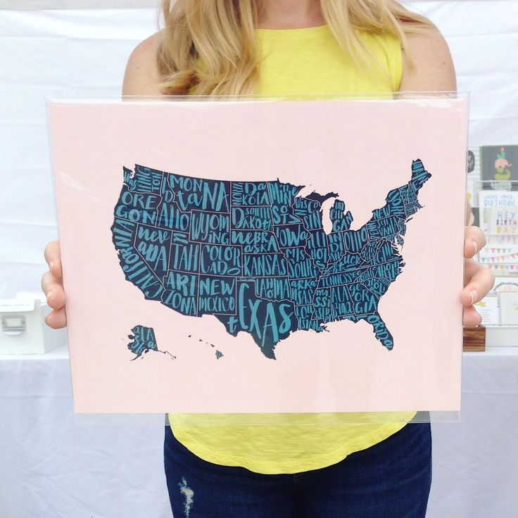 these united states map prints are a great graphic addition to any room or gallery wall choose from 4 color options blush pink coral red colors