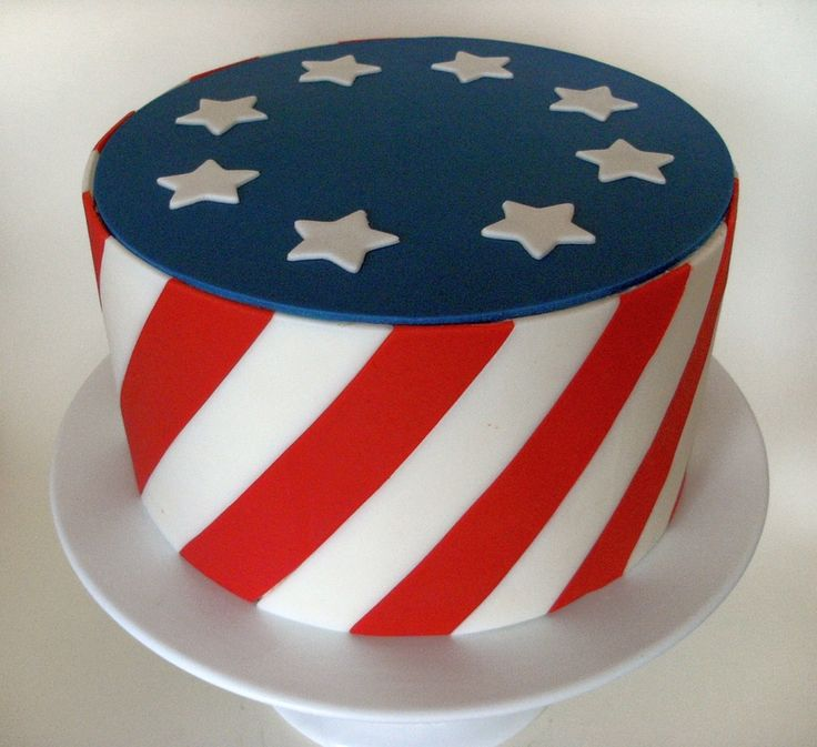 4Th Of July 4Th Of July White is fondant, red and blue are candy clay. My first wax paper transfer and disk top (don't know if that's the... #4th-of-july #patriotic #independence-day #american-flag #usa #july-4th #cakecentral