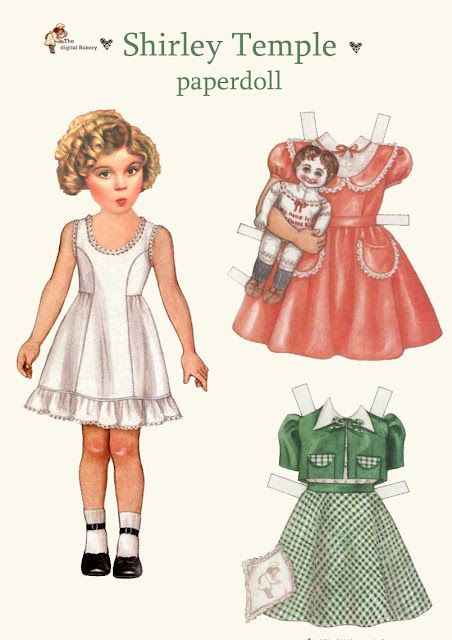 Shirley Temple paper dolls. Using scissors, cut around the dress and be careful not to cut off the white tabs. Place the dress on the cardboard doll and fold the white tabs over the doll to keep in in place.