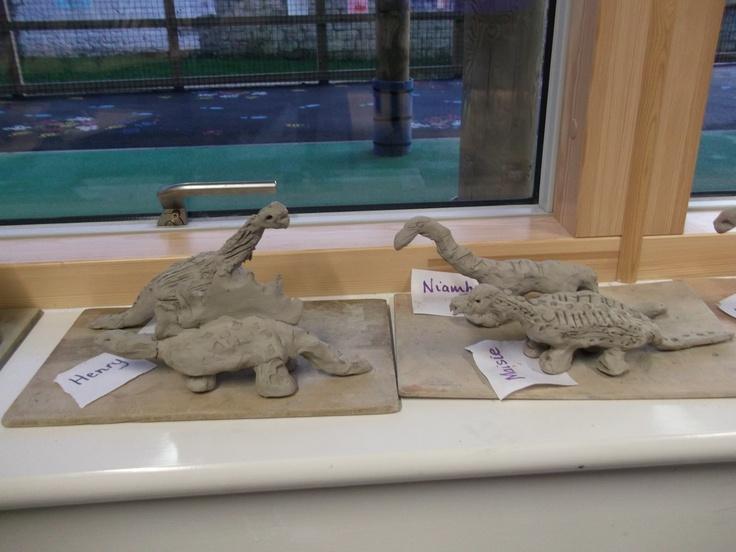 Clay dinosaurs. | School project ideas... | Pinterest