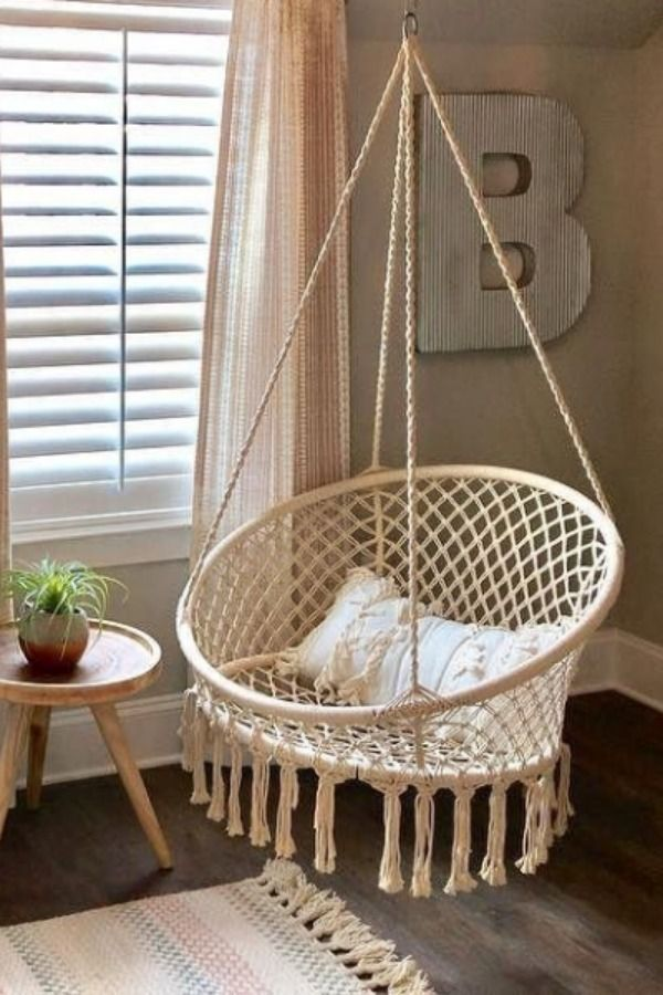 Review Macrame Hanging Saucer Chair With Images Upholstered