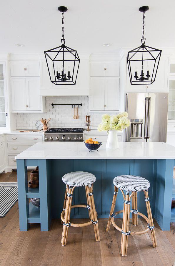 White And Blue Lake House Kitchen Lake House Kitchen Home