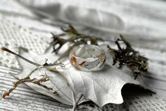 Resin Ring Statement Ring Eco Resin Ring botanical handmade jewelry REAL FLOWER RING-Real Iceland moss ring-nature inspired engagement rings