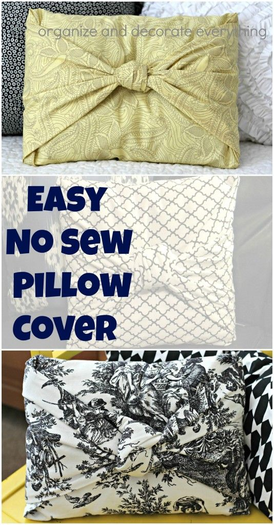 easy no sew pillow cover no sewing or gluing just fold and tie organize decorate crafts. Black Bedroom Furniture Sets. Home Design Ideas