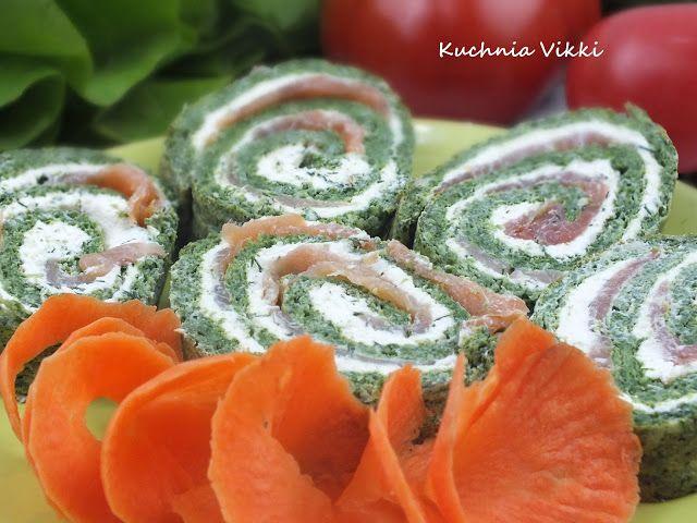 Kuchnia Viki: Rolada ze szpinakiem i wędzonym łososiem