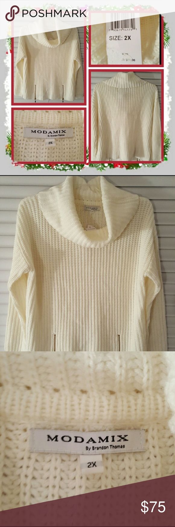 "❤ NWT Woman's Cowl Neck Sweater Size 2X ❤ Brand New Woman's White Cowl Neck Sweater Size 2X. This Sweater Has A Cowl Neck And Zipper Design On The Front Each Side. I Would Say This Is Approximately 25"" Inches Long It Fits Small More Like A 1X Or Smaller In My Opinion Great For Fall And Winter 🚫 PAYPAL 🚫 TRADES 🚫 OFFERS PRICE IS FIRM ❤ Modamix Sweaters Cowl & Turtlenecks"