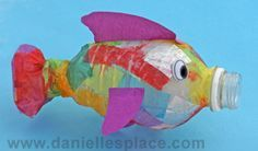 """Fish Craft DiY made with a water bottle. Stuff it with tissue scraps instead of gluing. ((This one gets a """"hell, yeah!"""" for the stuffing--Andrew will love not to have glue on his fingers!))"""