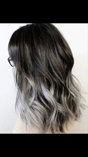 Black to silver ombre
