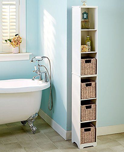 This Bathroom Linen Tower Cabinet Takes Up Minimal Floor Space While Maximizing Storage Step By Step Inst Small Bathroom Storage Small Bathroom Storage Towers