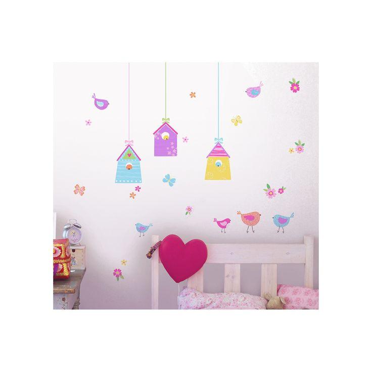 Fun4Walls Bird Houses Wall Stickers Set of 2 - Purple/Blue