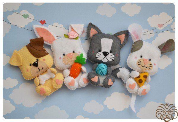 Забавные игрушки из фетра по одной выкройке :)
