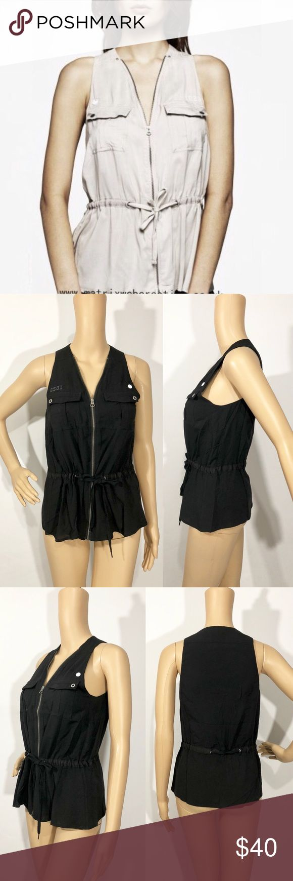 """G-STAR RAW WOMEN'S BLACK EAST CRUSADER TOP G-Star Women Black East Crusader Top Size: Small Condition: New with tags Details: V-neckline Front zip closure Flap pockets Adjustable waist Sleeveless  100% Viscose  Measurements:  Armpit to armpit: 17"""" Length from shoulder to hem: 25"""" G-Star Tops Blouses"""