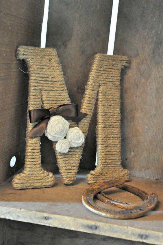 Twine wrapped monogram  / http://www.deerpearlflowers.com/ideas-of-using-twine-for-rustic-wedding/