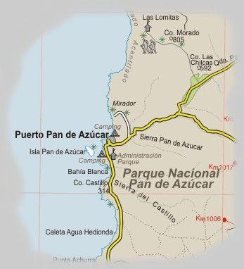Carta - detalle del sector Pan de Azucar en Atacama, Chile