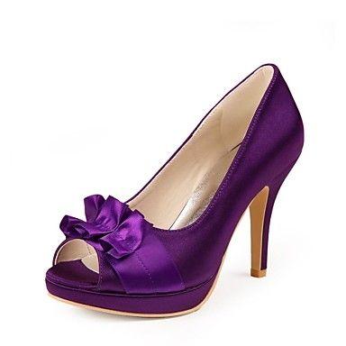 Les chaussures des femmes peep toe pompes talon aiguille avec des chaussures de satin fleur de mariage plus de couleurs disponibles - EUR € 39.99