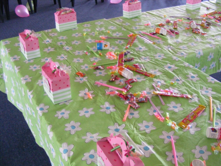 Hand made and painted goodie boxes. Tables strewn with sweets for the little ones...LESSON LEARNED...never so much sweets again  StrawberryShortcake