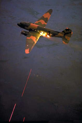 Vietnam War, Puff the Magic Dragon. Also know as the Douglas AC-47 Spooky.