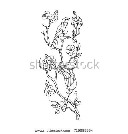 Low polygon style illustration of Japanese white-eye birds on branch of sakura cherry blossoms tree on isolated background done in black and white.  #sakura #lowpolygon #illustration