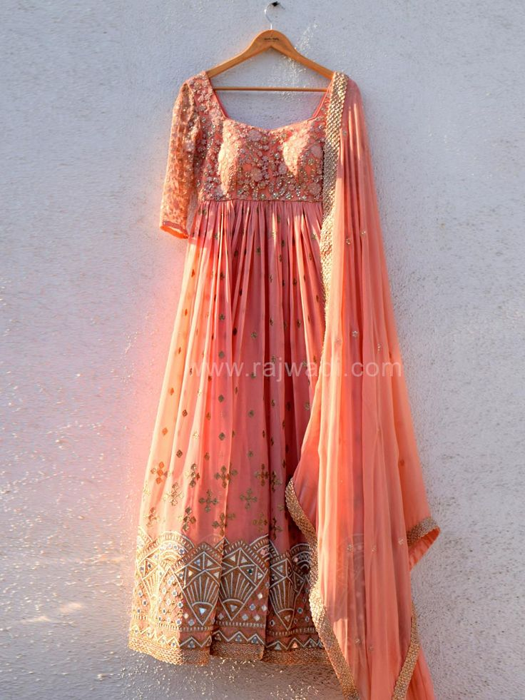 Thread Work Wedding Peach Anarkali Suit by Designer Anisha Shetty
