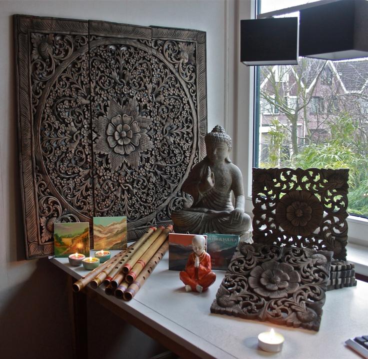 Warm Decoratief Aziatische Handgesneden Eikenhouten