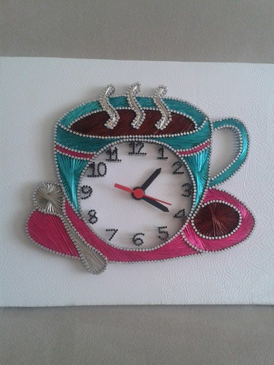 Coffee Cup Clock String Art