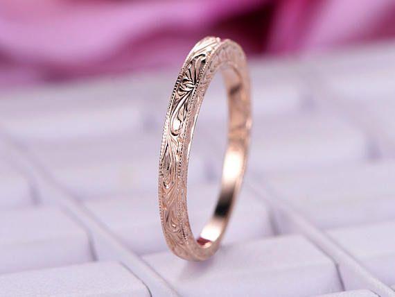 Filigree 14k Rose Gold Engagement Band Bridal Wedding Ring Vintage